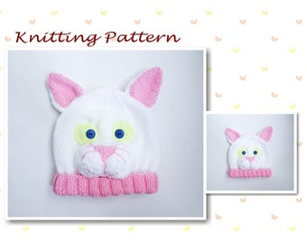db3e0c53488 Knitting Pattern Cat Hat Baby Beanie Hat Animal Hat Character Hat Novelty Hat  Beanie Hat Baby Hat Cat