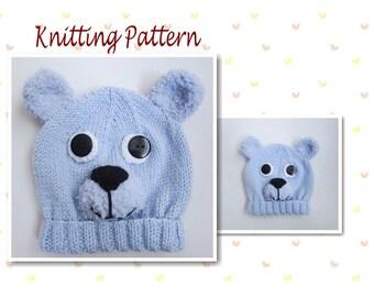 b264f03b834 Knitting Pattern Teddy Bear Hat Baby Beanie Hat Animal Hat Character Hat  Novelty Hat Beanie Hat Baby Hat Teddy Bear