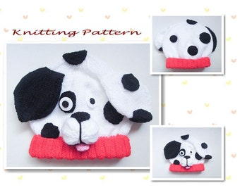 c446121d6f2 Knitting Pattern Dalmatian Puppy Dog Baby Beanie Hat Animal Hat Character  Hat Novelty Hat Beanie Hat Baby Hat
