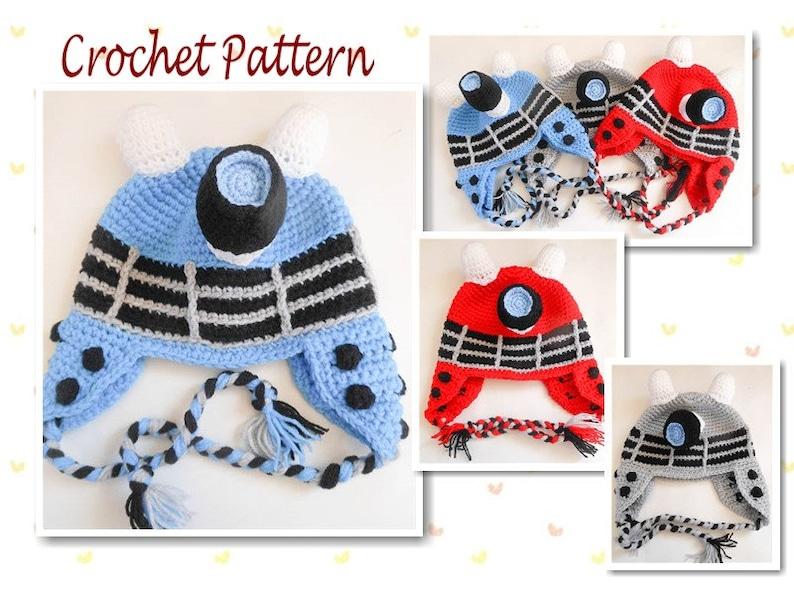 55ce695d3de Crochet Pattern Robot Dalek Inspired Hat earflap beanie dr who