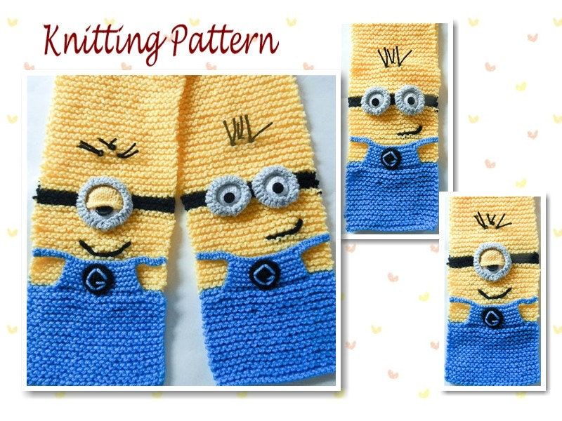 Knitting Pattern Minion Scarf character scarf animal scarf