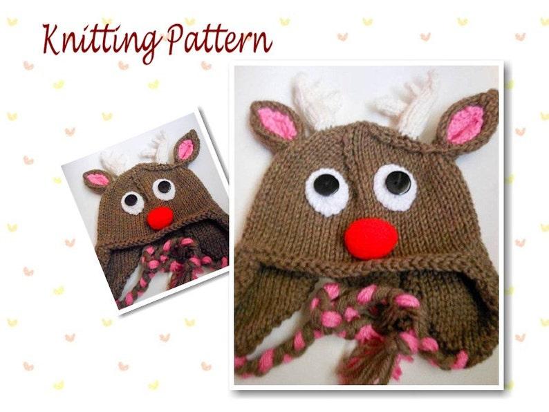 Knitting Pattern Rudolph Reindeer Hat Animal Hat beanie  18820ac437f