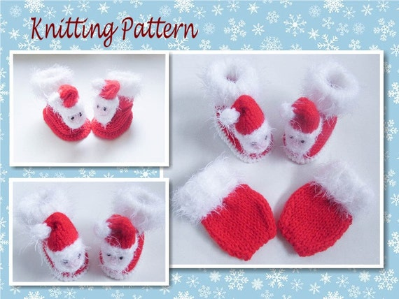 PRINTED INSTRUCTIONS LADIES SANTA HEAD CHRISTMAS SLIPPERS KNITTING PATTERN
