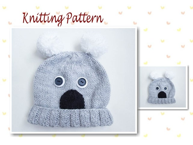 Knitting Pattern Koala Hat Baby Beanie Hat Animal Hat | Etsy