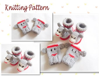 Knitting Pattern Sock Monkey Baby Booties and Mittens Baby Booties Bootees Sock Monkey Mittens Baby Mittens knitted booties Animal Booties