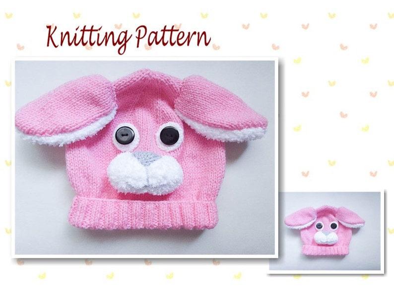 6a775296c11 Knitting Pattern Bunny Rabbit Hat Rabbit Baby Beanie Hat