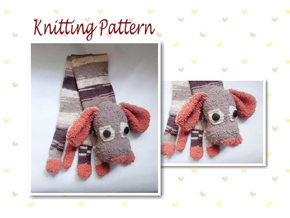 Knitting Pattern Dog Animal Scarf Dog Scarf Novelty Scarf Etsy