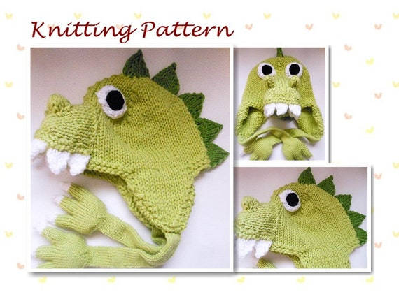 Knitting Pattern Animal Hat Dinosaur Hat Dragon Hat earflap hat beanie hat  character hat novelty hat 555f4a31643