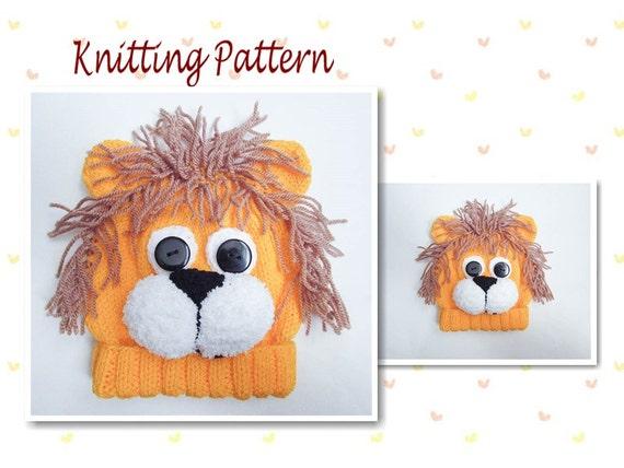 d7394d4329f Knitting Pattern Lion Hat Lion Baby Beanie Hat Animal Hat