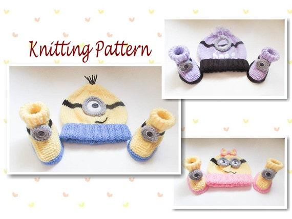 Knitting Pattern Minion Hat Minion Booties Hat Booties Beanie Etsy