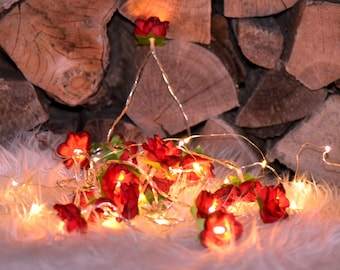 Perfect for Valentines! Deep red rose flower fairy string lights battery operated 20 LED 2M girlfriend gift for her cosy hygge