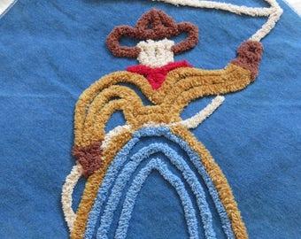 Tufted Chenille Cowboy on Denim Diamond