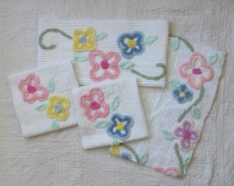 Tufted Floral Chenille Fabric Fat Quarters ~ Chenille Cut Squares