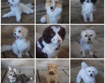 Custom Needle Felted pet replica - pet portrait - pet memorial - needle felted dog - miniature felted dog