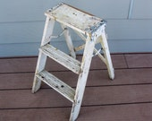 Shabby wooden step ladder -step stool -folding ladder- painted -plant stand- rustic- primitive -wood step ladder- porch decor -farmhouse