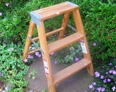 Wooden step ladder -step stool -folding ladder -plant stand- -wood ladder -2 ft ladder -Werner ladder - Super Sturdy- 1990s