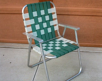 Vintage Lawn Chair  Webbed  ADULT Size  1960s/70s  Green White  Nylon Web Lawn  Chair  Patio Deck Furniture  Retro Cabin  Vintage Camper
