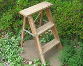 Vintage wooden step ladder -step stool -folding ladder -plant stand- shabby- primitive -distressed -2 foot ladder -lawn garden decor