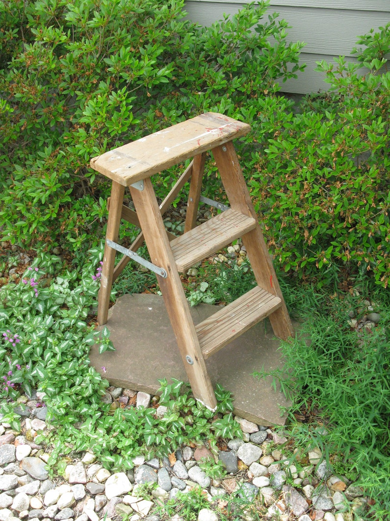 Vintage Wooden Step Ladder Step Stool Folding Ladder Plant Stand Shabby Primitive Distressed 2 Foot Ladder Lawn Garden Decor