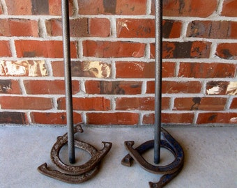 SPALDING Horseshoes with Stakes- set of 4 - farmhouse decor - collectibles- vintage games- display - cowboy- wall decor -man cave -2 1/2 lbs
