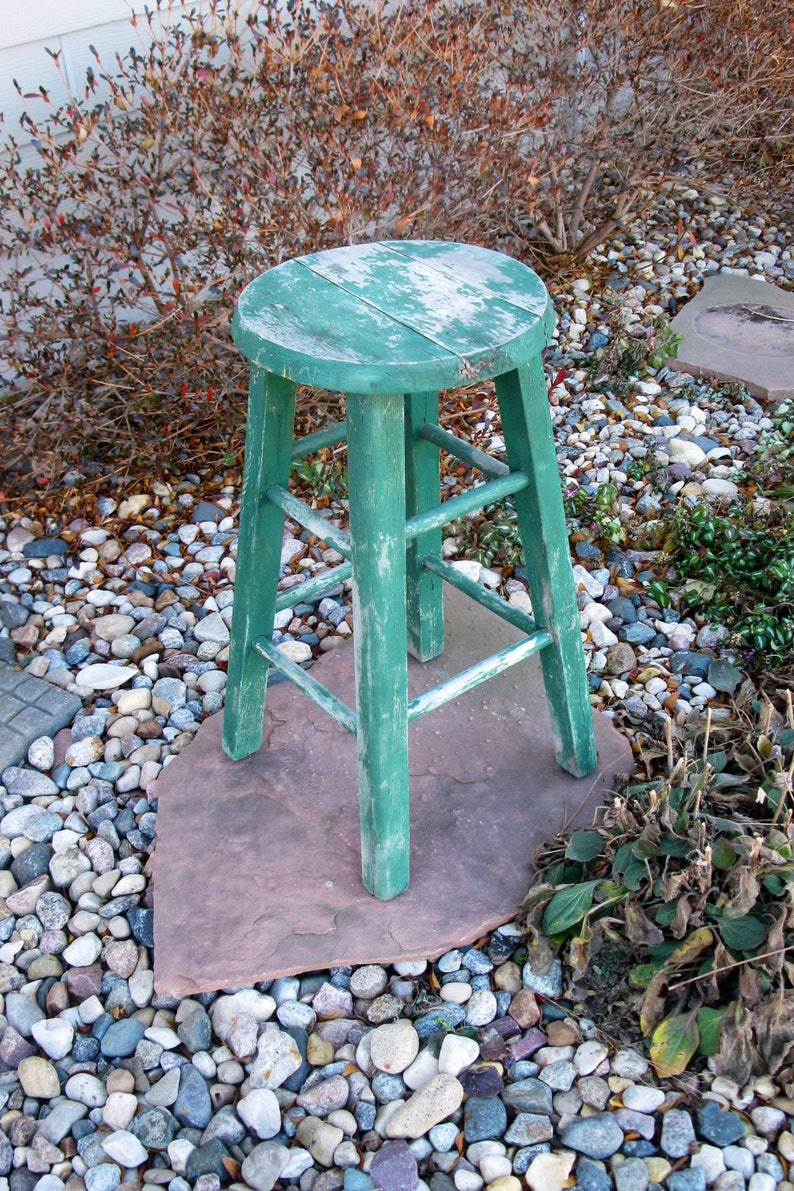Outstanding Shabby Wood Stool Green Vintage Wood Bar Stool Distressed Cottage Chic Photo Prop Childs Stool Kitchen Stool Plant Stand Farmhouse Andrewgaddart Wooden Chair Designs For Living Room Andrewgaddartcom