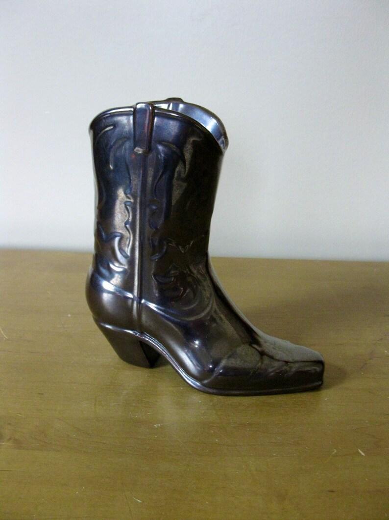 778ea702ba1 Ceramic COWBOY boot - vintage cowboy vase - boot planter- western decor  -handpainted - Bronze glazed- rustic planter -boho -farmhouse decor