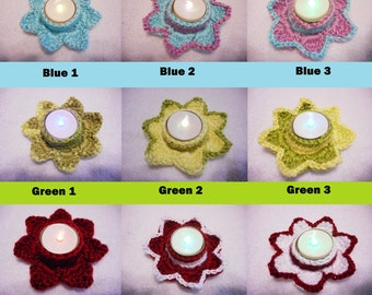 Crochet Flower Tealight Holders ~ christmas yarn tealight holder candle accent flower votive flower spring rustic candle warmer candle decor