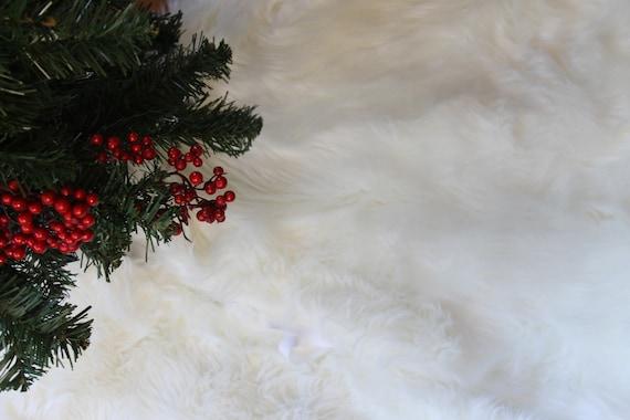White Faux Fur Tree Skirt Etsy