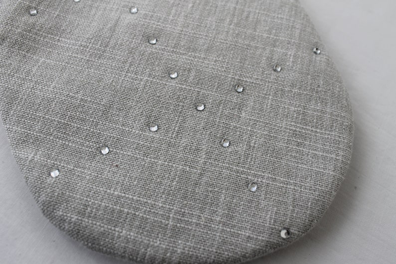 Grey linen Rhinestone stocking