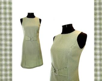 Vintage Dress 1960s Green Dress Retro Dress Sleeveless Dress Checkered Dress Summer Dress Checkered Fabric Mod Dress Shift Gogo Dress Small