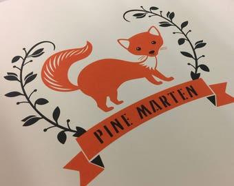 Pine Marten Print, (often mistaken for a fox print) Burnt Orange & Black hand crafted Silkscreen Screen Print.