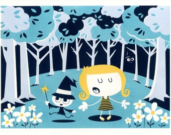 Lizzie & Witch Silkscreen Art Print perfect as a child's room print or nursery print