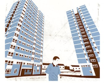 Leeds Tower Blocks Silkscreen Art Print in Grey and Brown