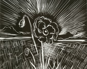 """Claire Gray """"Lest We Forget Poppy"""" Black & White Lino Cut"""