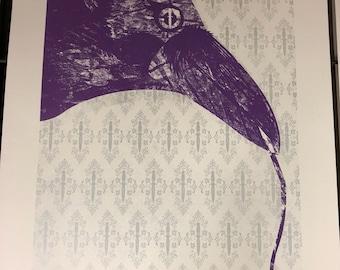 Caledonian Crow Silkscreen Art Print ( Screen Print ) in metalic silver and purple on birch stock.