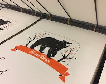 Noble Bear Screen Print. Orange & Black.