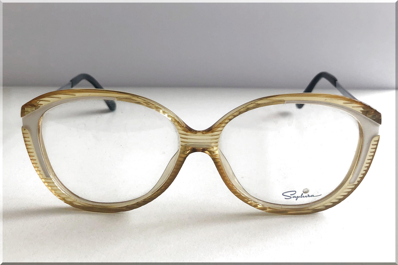 Marcos vintage de gafas claras de color amarillo-blanco con