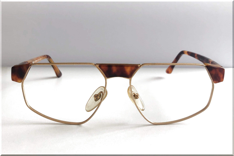 Vintage Oro Metal y Tortuga Shell Gafas con forma angular