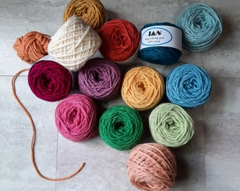 Bonus Buy ~ 8 balls (2 oz. each)  of Any Colors of Your Choice Wool Rug Yarn ~ Ready to Use ~ 3 Ply Thick