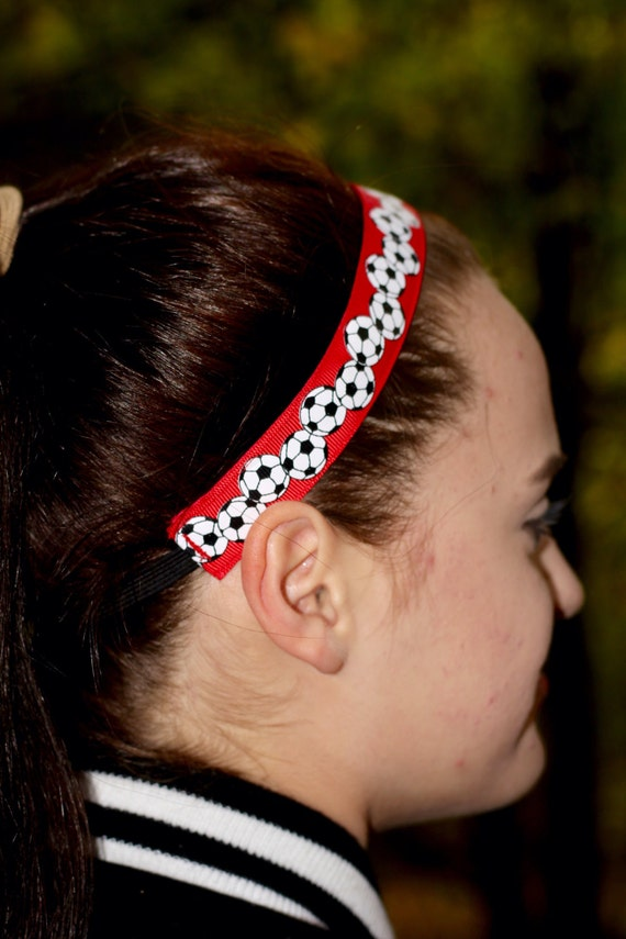 Red Soccer Headband - Sports Headbands for Women - Choice of Sizes and  Colors - Headbands for Girls Soccer Gifts - Red Headband Soccer Hair 1c9a863162d
