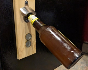 Wall or Magnetic mount Bottle Opener with Magnetic Cap Catcher