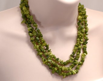 Green Quartzite Chip Necklace, Multi Strand Necklace, Green Stone Chip Necklace, Green Necklace, Stone Chip Layered Necklace (N515)