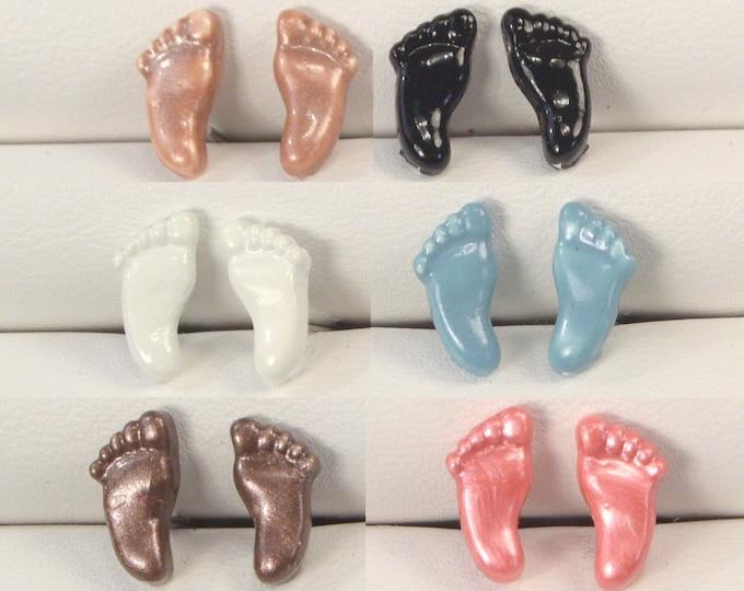 Baby Feet Post Earrings Black Baby Feet Studs New Baby Feet Earring Gift Bronze Brown Feet Posts Light Blue Pink Feet Stud Earrings
