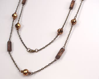 Antique Gold Crystals & Peruvian Wood Link Necklace, Long Bronze Necklace, Rustic Crystal Necklace, Versatile Everyday Necklace (N511)