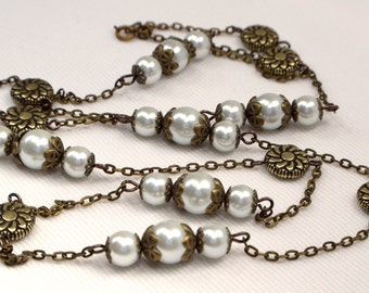 Bronze Flower & White Pearl Bead Link Necklace, Long Bronze Necklace, Rustic White Pearl Necklace, Bronze Everyday Necklace (N81)
