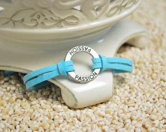 PASSION Bracelet -Inspirational message bracelet - Word charm on leather cord bracelet