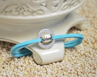 BELIEVE Bracelet - Inspirational word charm on leather cord bracelet
