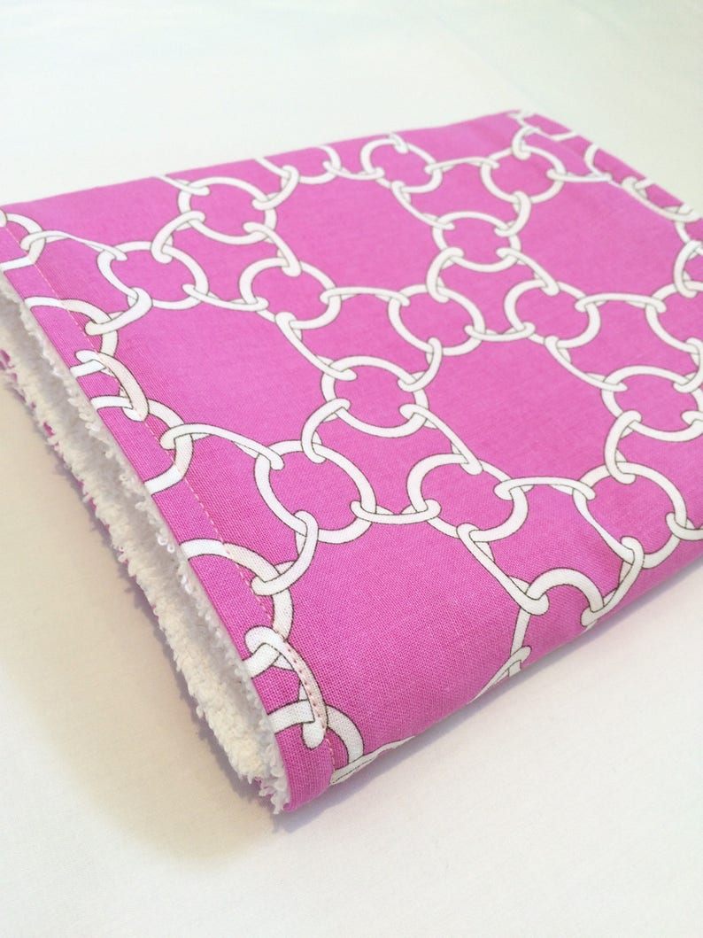 Chain Link print on pink cotton fabric and a white cotton terry towelling baby shower gift Cotton towelling baby burp cloth Burp cloth