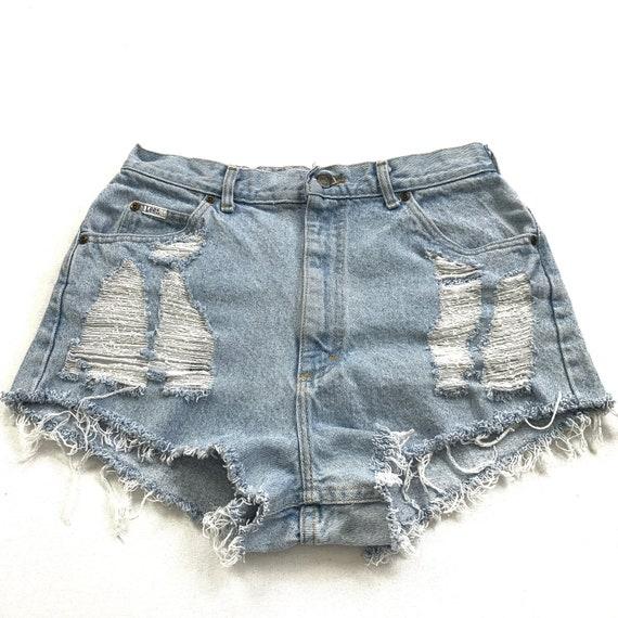 High Waist Jean Shorts Waist 32 Vintage Lee Jeans Cuttoff Shorts
