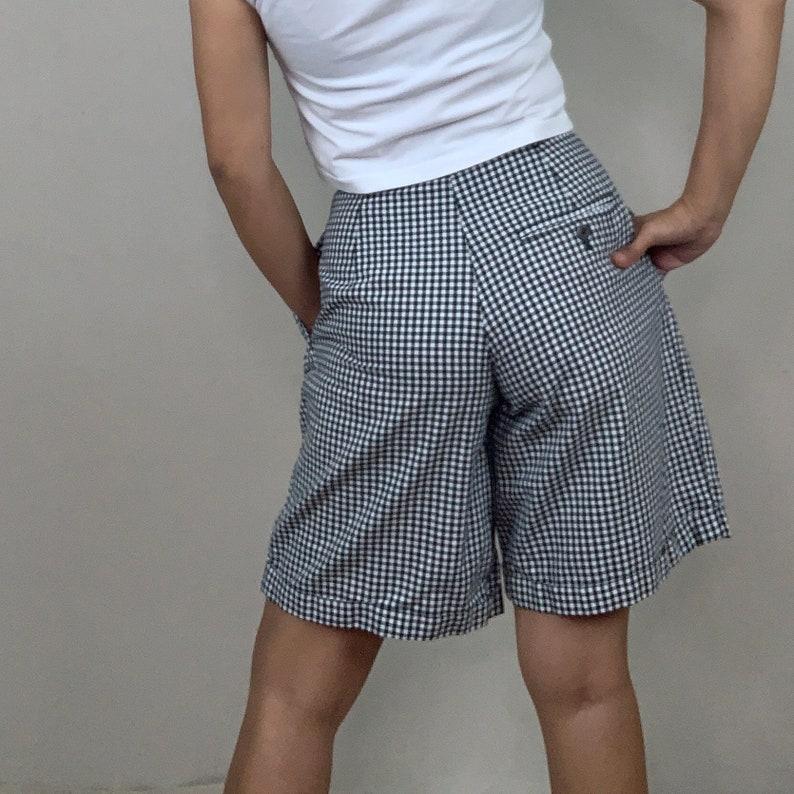 GINGHAM Shorts  Made in Korea  Waist 27  Small High Waist  Vintage
